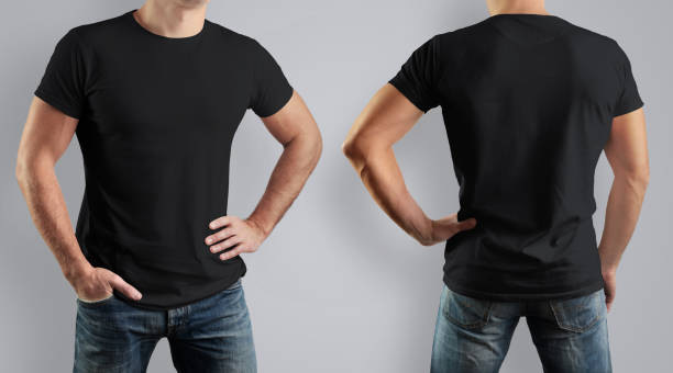 Mockup  black t-shirt on strong man on gray background. Front view and back. stock photo