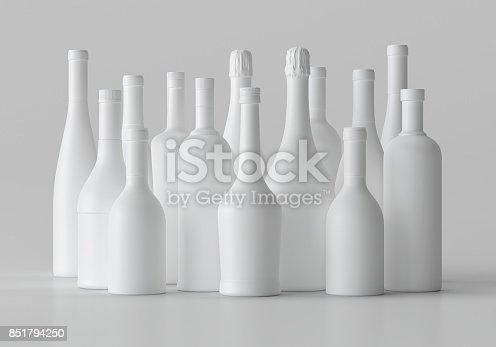 istock Mock-up Blank 3d illustration Alcohol Bottle, copy space. 851794250
