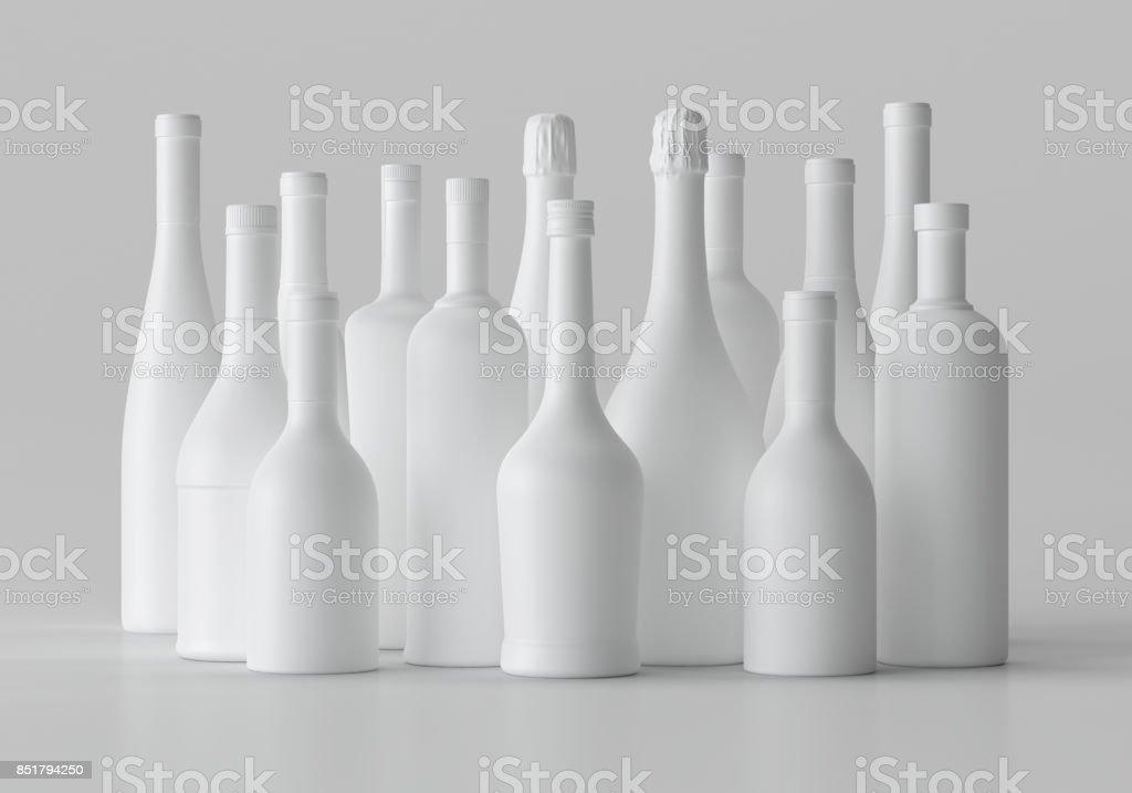Ilustración 3d en blanco de maqueta botella de Alcohol, espacio de copia. - foto de stock