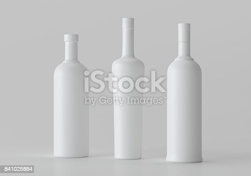 istock Mockup Blank 3d illustration Alcohol Bottle, copyspace. 841025884