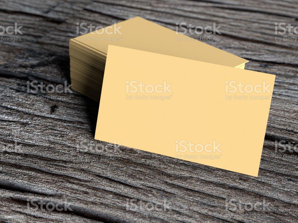 Mockup Leere Visitenkarte Auf Alten Dunklen Holz Stockfoto