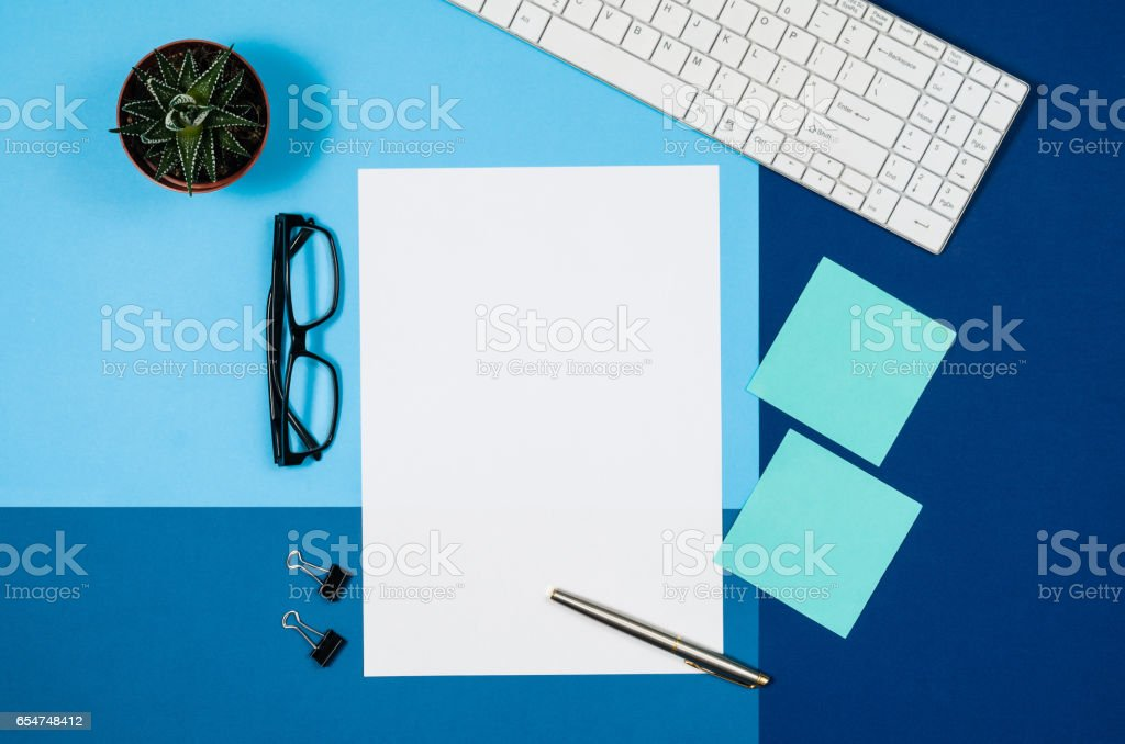 Mock-up blank page or magazine on colorful background top view stock photo