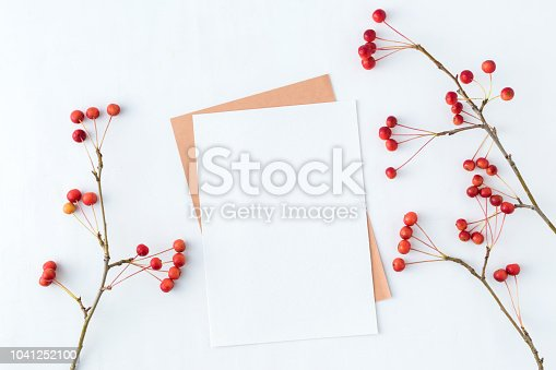 Mockup blank paper card and branch with small red apples on a white background. Flat lay, top view