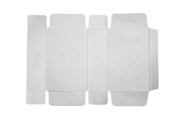 mock-up plan vorlage von papier-box-verpackung. alten karton mit gestanzten muster. - box falten stock-fotos und bilder
