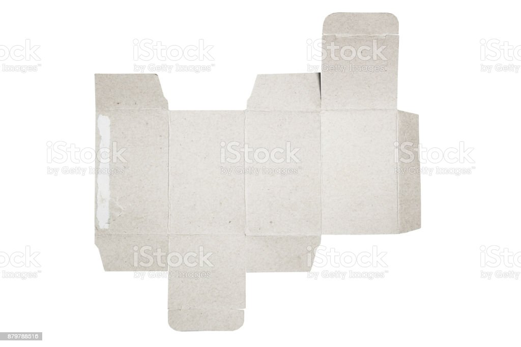 Mockup blueprint Template of paper box packaging. old cardboard with DIe-cut Pattern. stock photo