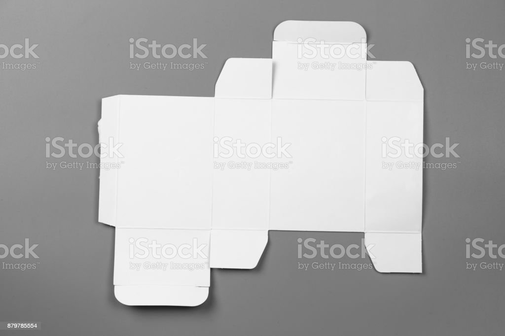 Mockup blueprint template of white paper box packaging on gray mockup blueprint template of white paper box packaging on gray background old cardboard with die malvernweather Gallery