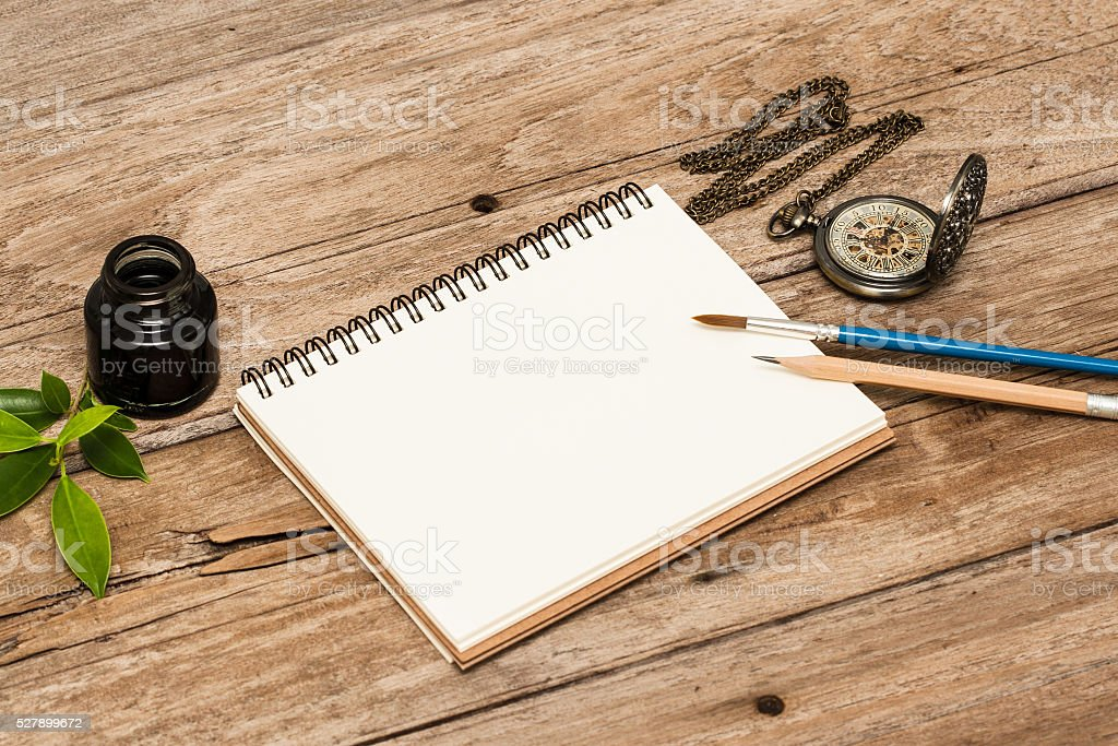 Mock-up. Brand identity template.  Old Wood Texture Background stock photo