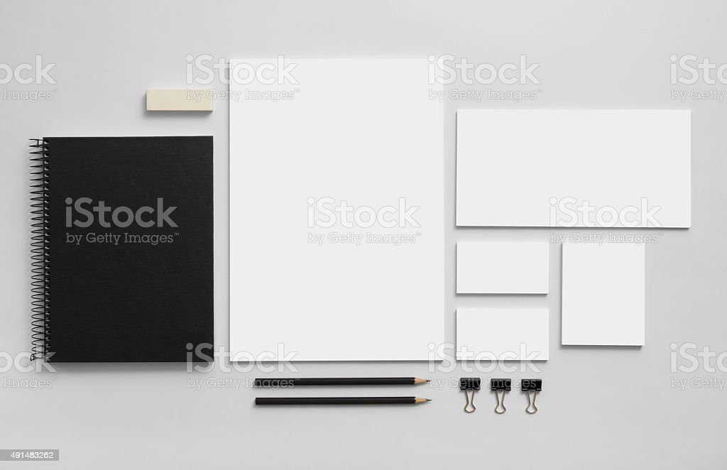 Mockup business brand template on gray background stock photo