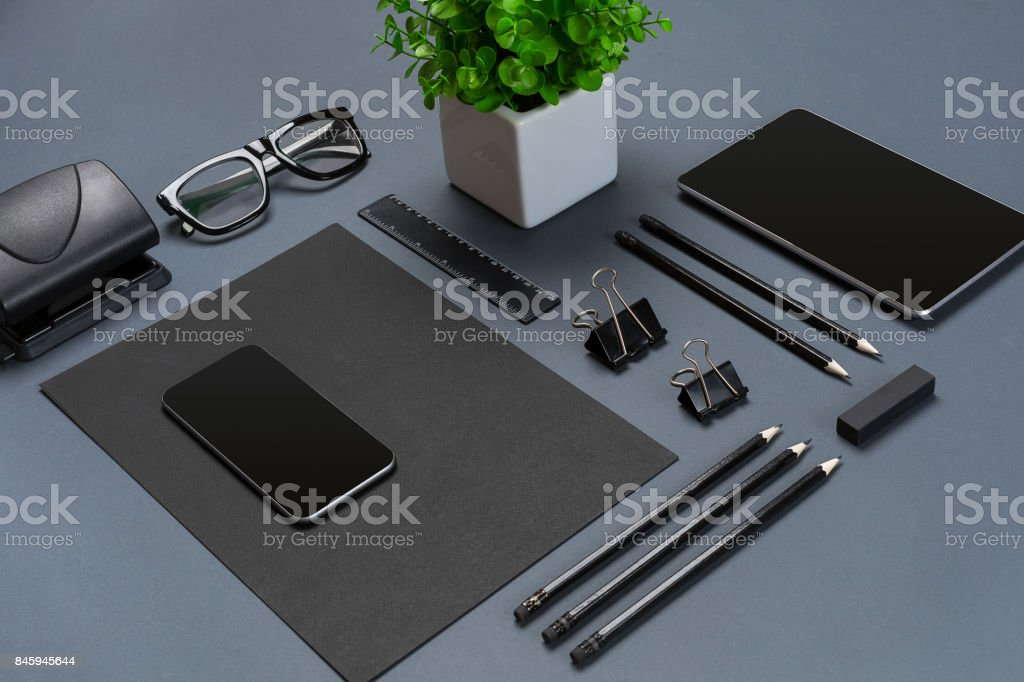 Mockup business brand template on gray background. Set of black stationery stock photo
