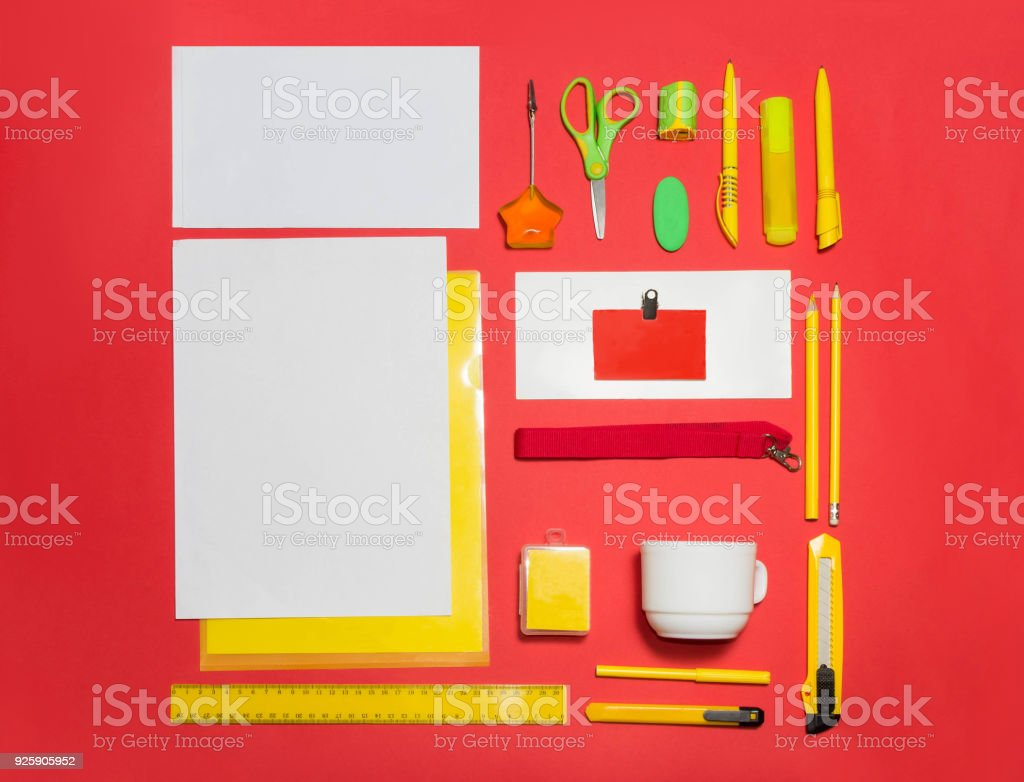 Mockup Business Template With Cards Papers Pen Red Background Stock ...