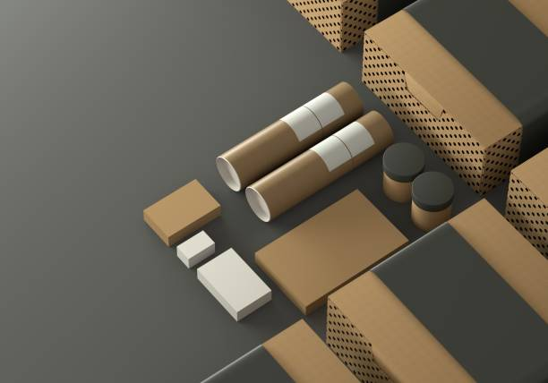 Mockup - Cardboard packaging stock photo