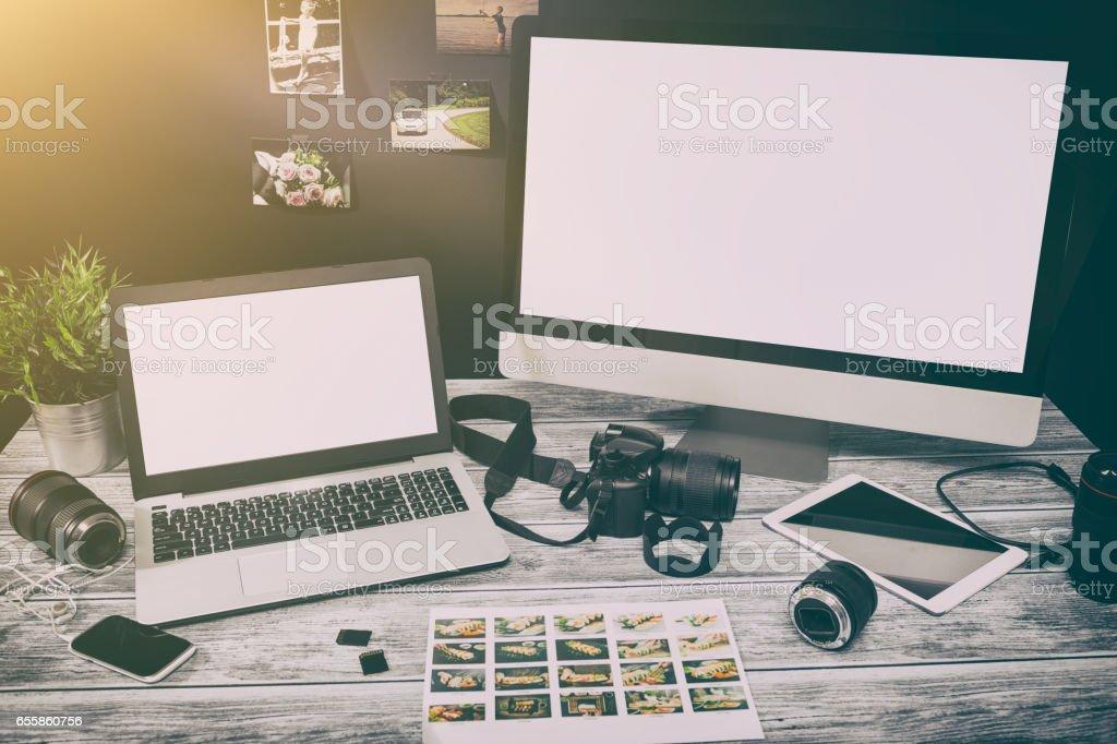 mockup design monitor working desk white space designer screen stock photo