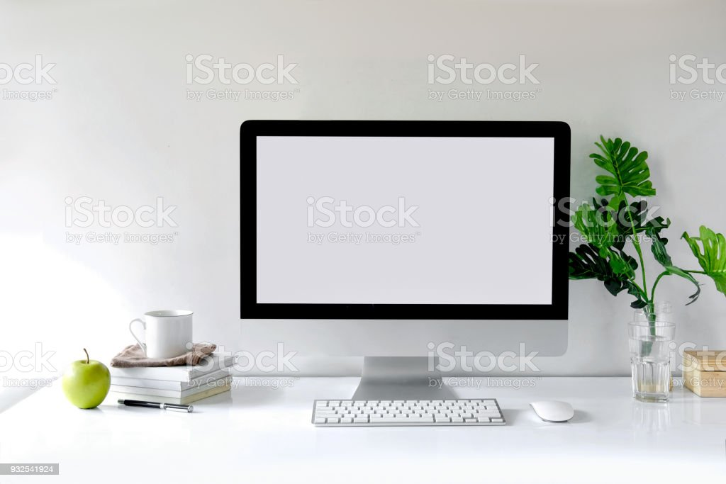 Mockup desktop Blank screen modern computer, coffee mug, house plant,...