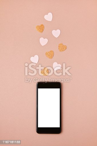 Mockup flat lay with smartphone and herta. Social networking , getting likes, sending love message concept
