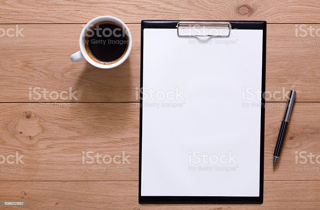 Mockup for checklist, note paper and coffee on wood background – Foto
