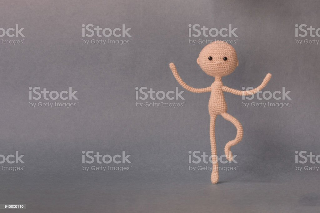 mockup for presentation slidea man stands on one leg and balances