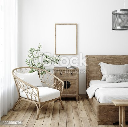 619975932 istock photo Mockup frame in bedroom interior background, Farmhouse style 1225559796