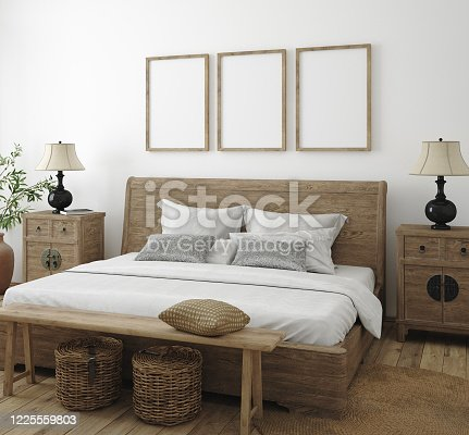 619975932 istock photo Mockup frame in bedroom interior background, Farmhouse style 1225559803