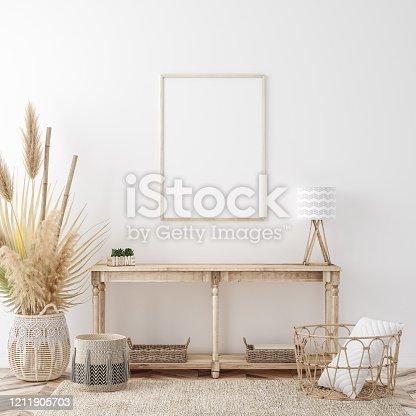 Mockup frame in coastal boho style interior, 3d render