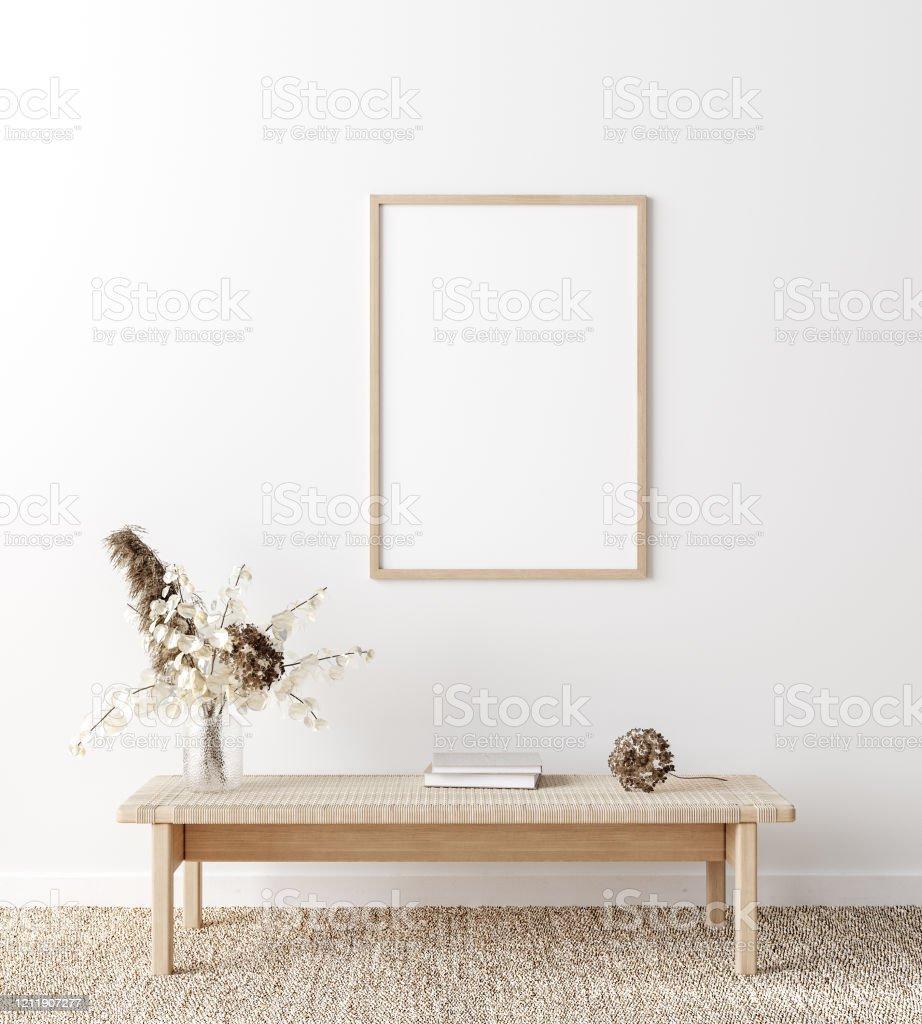 Mockup Frame In Coastal Boho Style Interior Stock Photo Download Image Now Istock