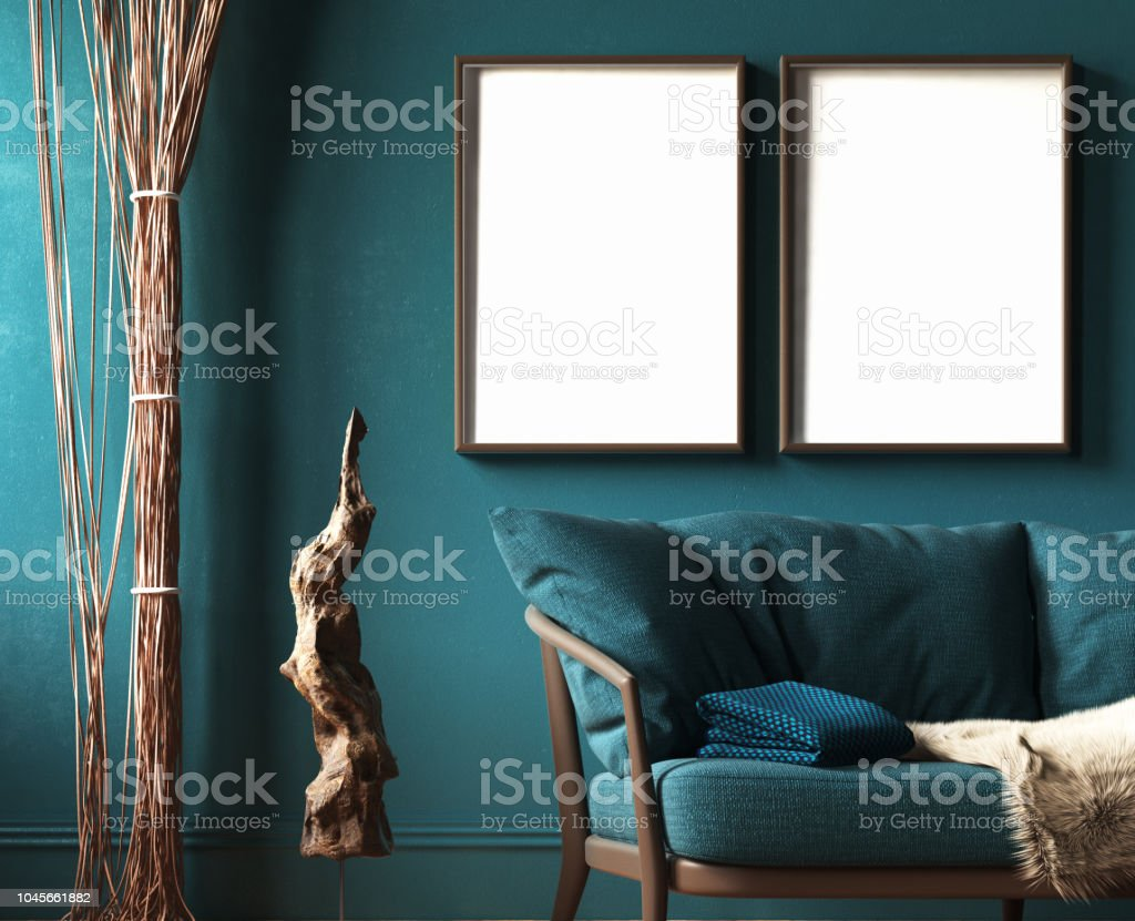 Mockup Frame In Dark Green Home Interior With Sofa Fur Rope Curtains