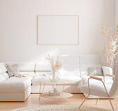 Mockup frame in interior background, room in light pastel colors, Scandinavian style, 3d render