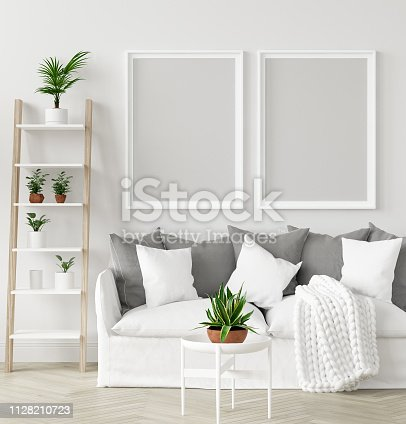 1027116110 istock photo Mock-up frame in interior background,Scandi-boho style, 3d render 1128210723