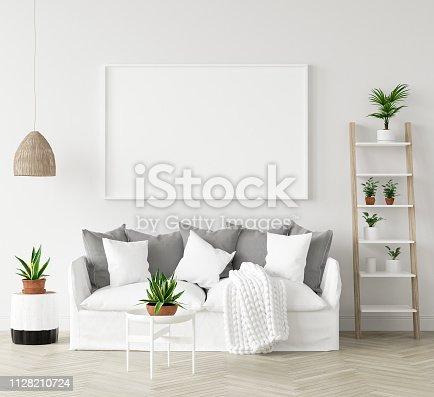 1027116110 istock photo Mock-up frame in interior background,Scandi-boho style, 3d render 1128210724