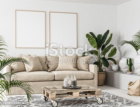 Mock-up frame in interior background,Scandi-boho style, 3d render