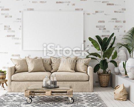 1027116110 istock photo Mock-up frame in interior background,Scandi-boho style 1019535380