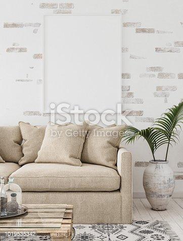 1027116110 istock photo Mock-up frame in interior background,Scandinavian style 1019535342