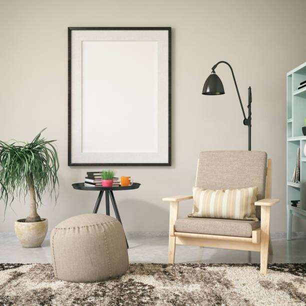 mock-up rahmen im wohnzimmer - wandmuster stock-fotos und bilder