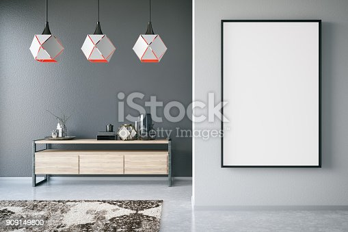 Black picture frame in house interior