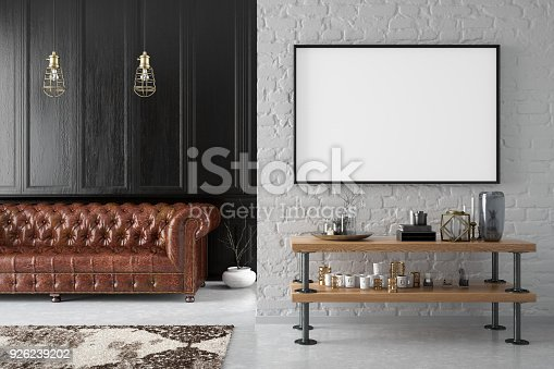 Black picture frame in living room