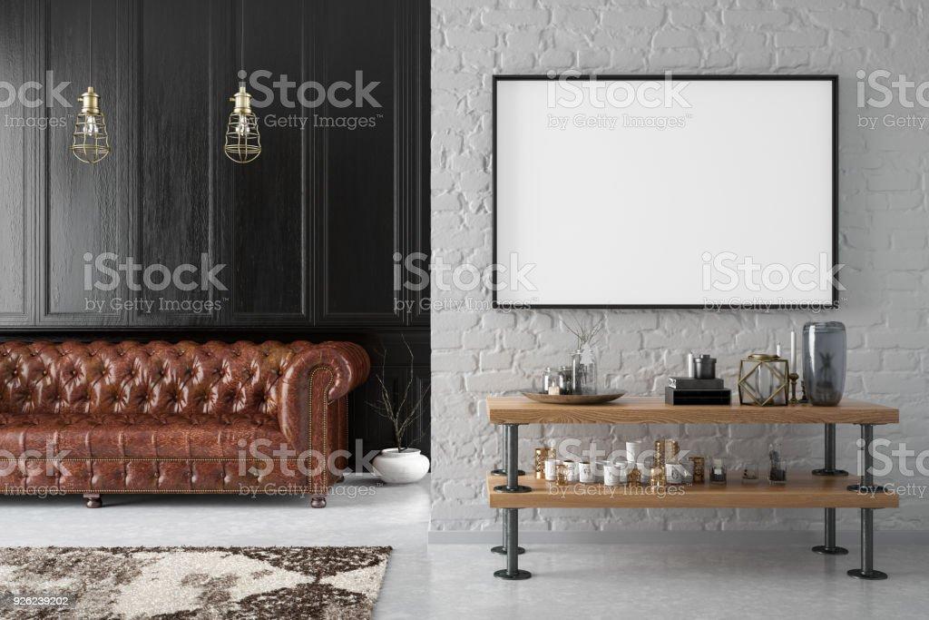 Mockup Frame in Living Room stock photo