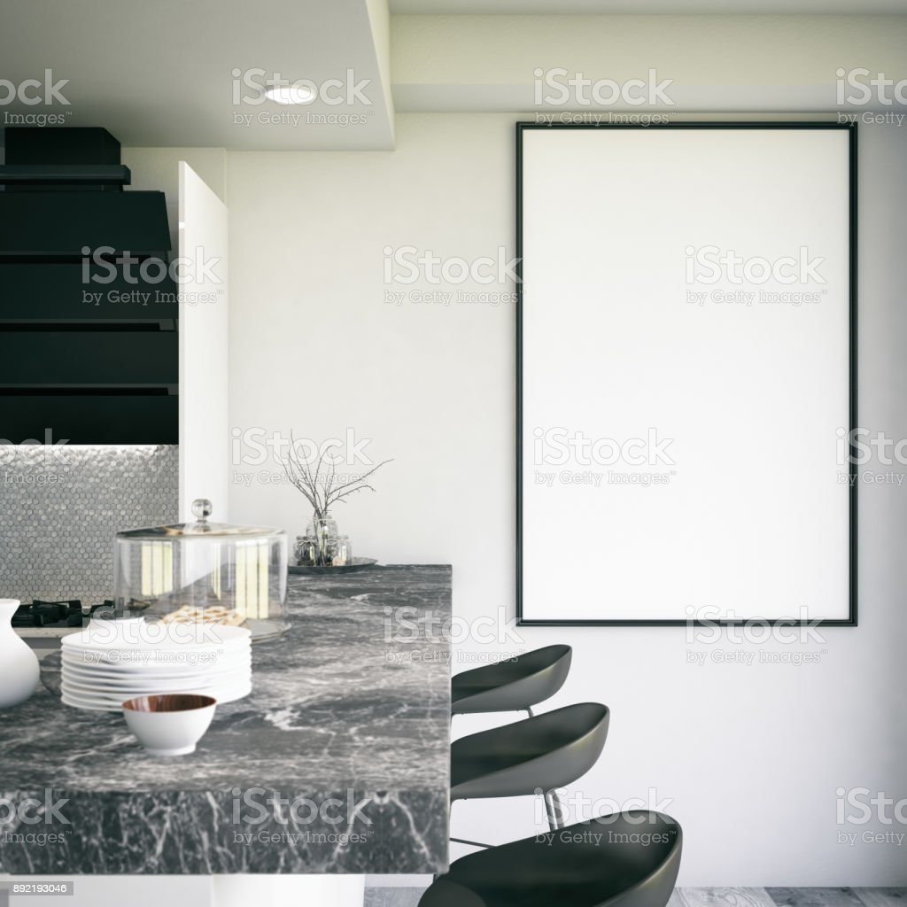 Mockup Frame In Modern Kitchen Stock Photo & More Pictures