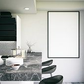 Blank picture frame in kitchen