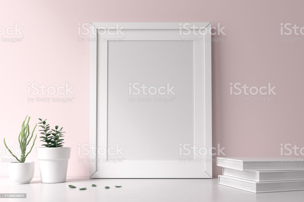 Mockup frame White mockup frame Apartment Stock Photo