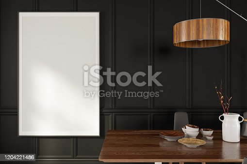 1153448605 istock photo Mockup Frame with Dining Table 1204221486
