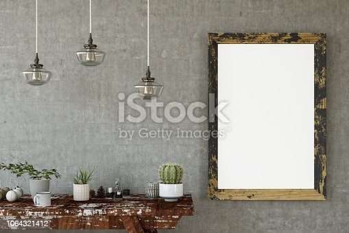 1153448605 istock photo Mockup Frame with Table and Decors 1064321412