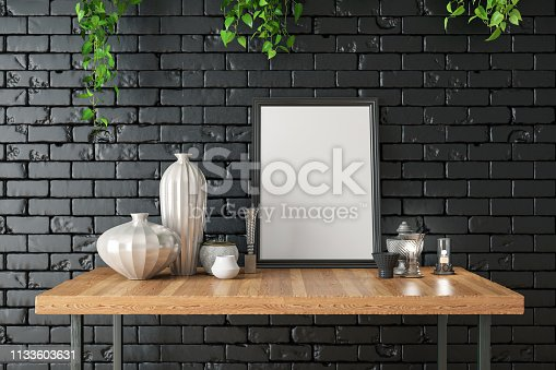 1153448605 istock photo Mockup Frame with Table and Decors 1133603631