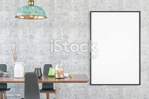 1153448605 istock photo Mockup Frame with Table and Decors 1153447158