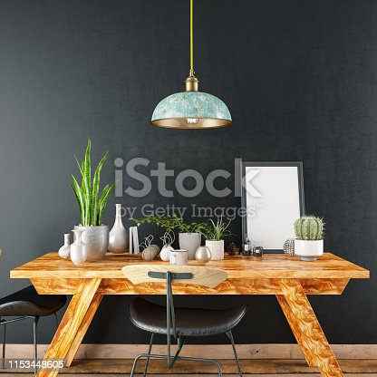 istock Mockup Frame with Table and Decors 1153448605