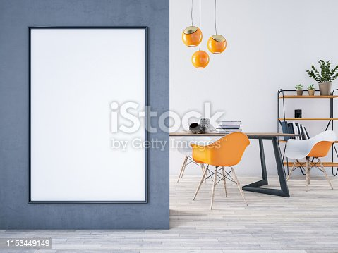 1153448605 istock photo Mockup Frame with Table and Decors 1153449149