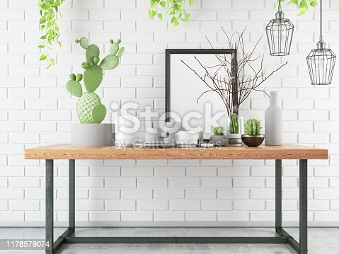 1153448605 istock photo Mockup Frame with Table and Decors 1178579074