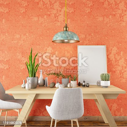 1153448605 istock photo Mockup Frame with Table and Decors 1191682375