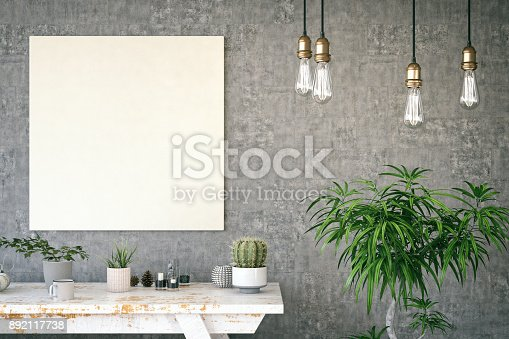1153448605 istock photo Mockup Frame with Table 892117738