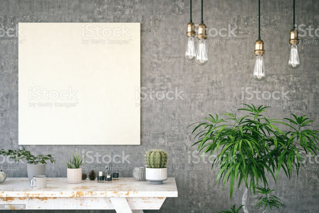 Mockup Frame with Table stock photo
