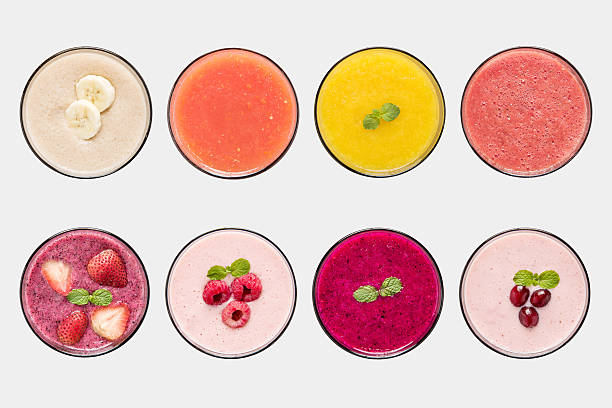 mockup fruit smoothie and fruit juice set isolated. - milkshake stockfoto's en -beelden