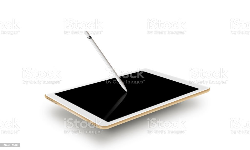 Mockup gold tablet realistic style with stylus. Isolated on whit stock photo